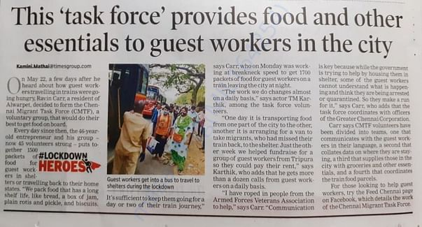 "Times of India, 16 June - Report about the ""Chennai Migrant Taskforce"""