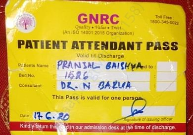 Patience Attendance Pass of the patient Pranjal Baishya