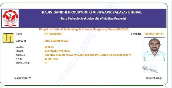 My college I card