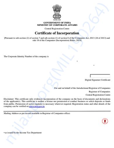 Certificate of Incorporation - NGO