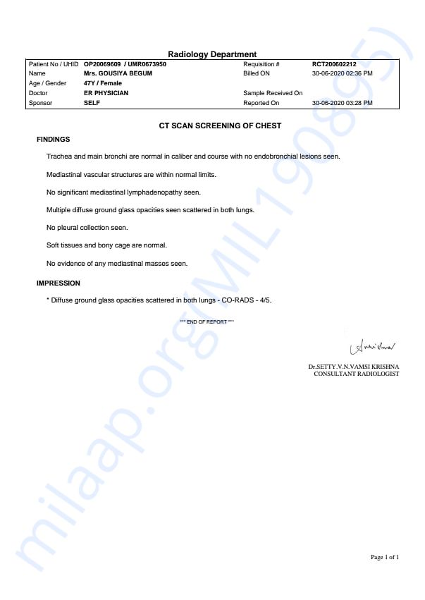 CT scan report on June 30