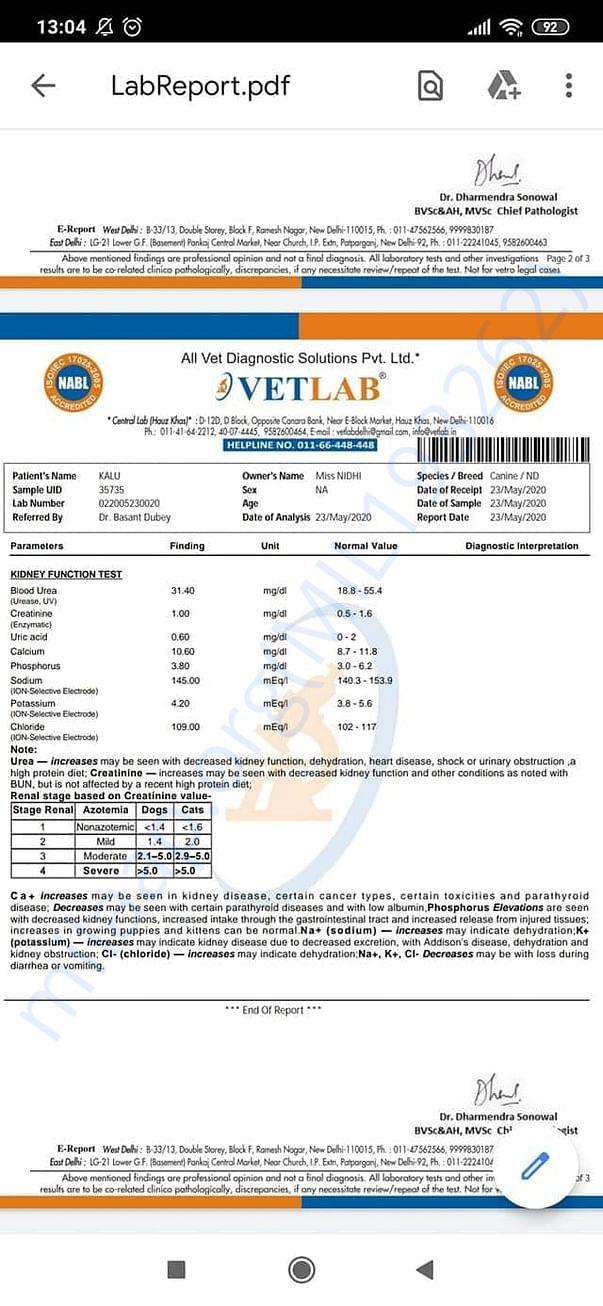 Kalu TVT- Blood reports