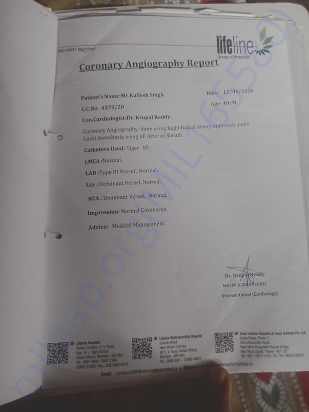 Angiography reports.