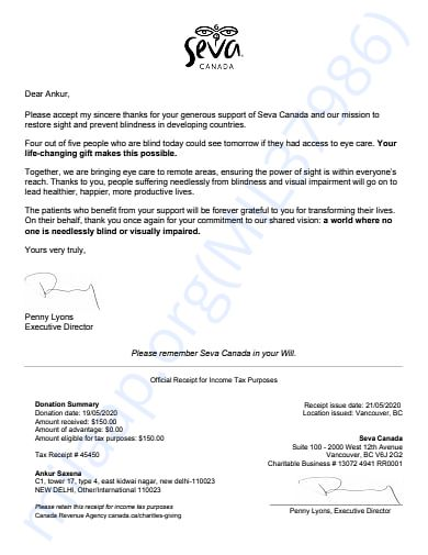 A letter of acknowledgement from Seva Canada