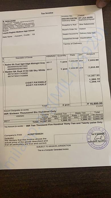 Invoice for first two phones