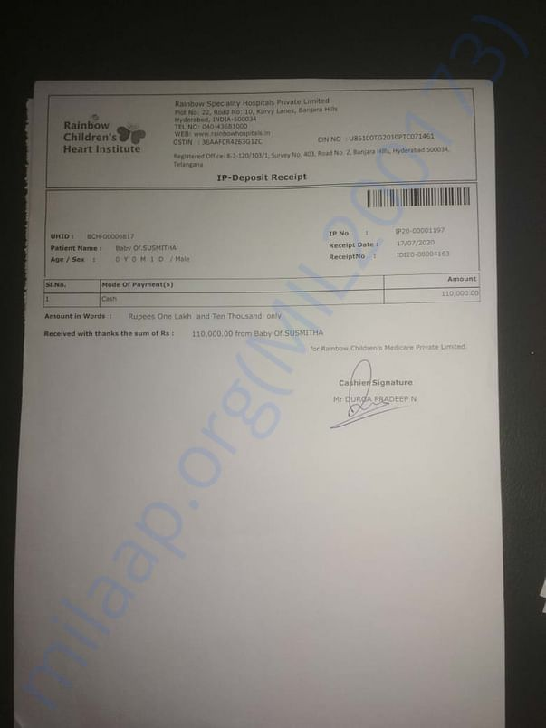one of the payment receipt