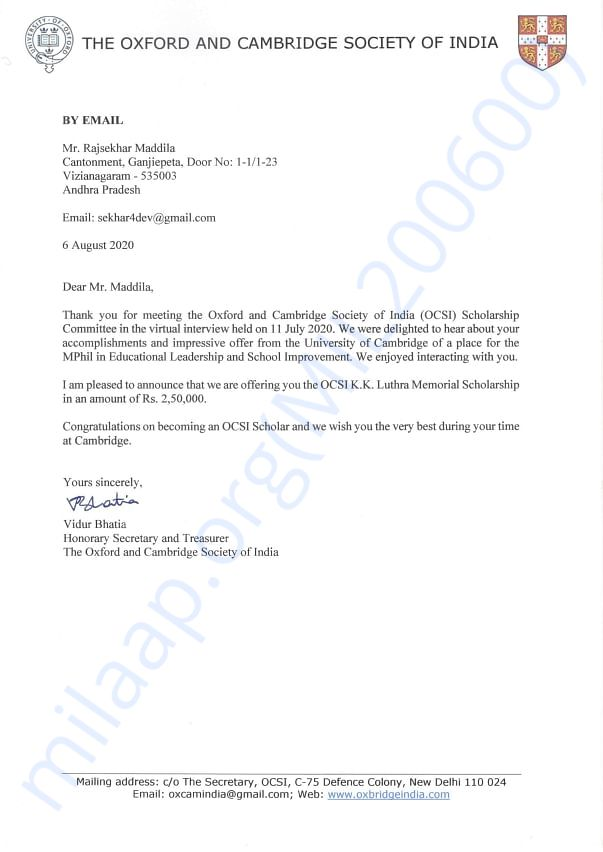The Oxford and Cambridge Society of India Scholarship Award - 2,50,000