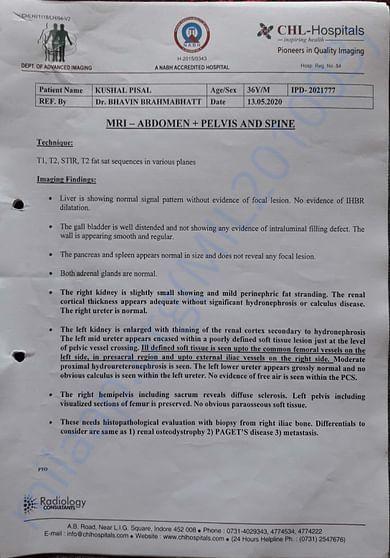 MRI Report Page No. 01