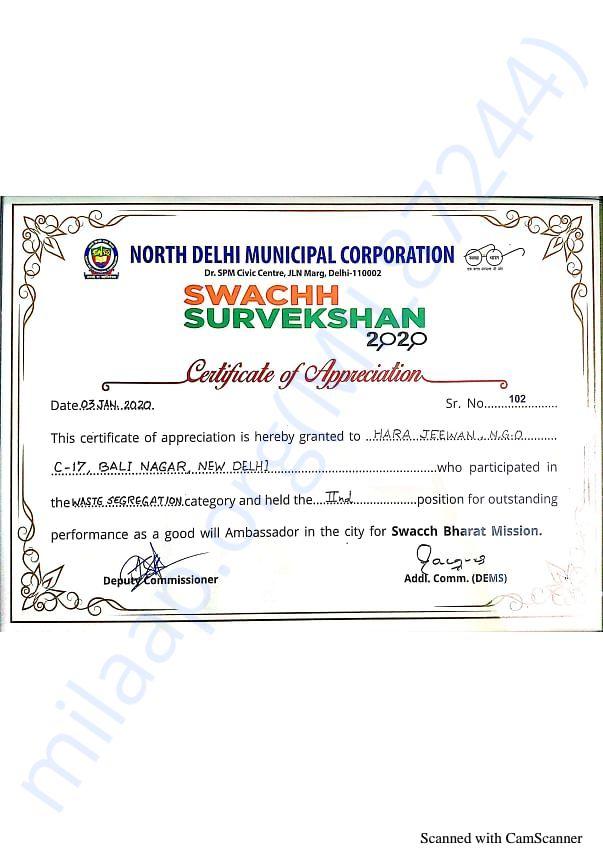 Best NGO Certificate of Appreciation