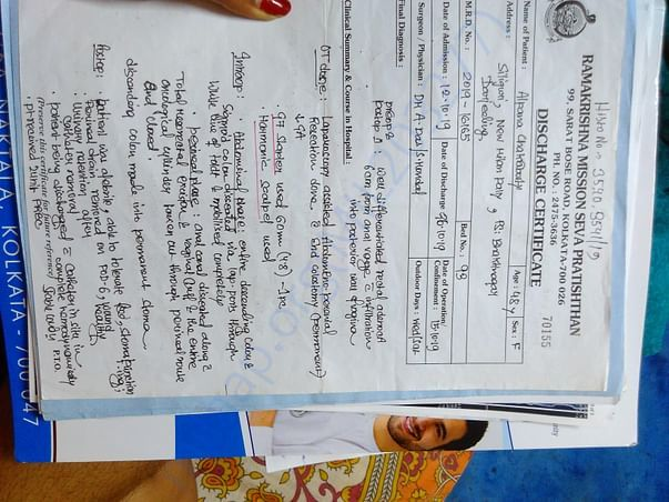 Discharge certificate of second operation (Colostomy)