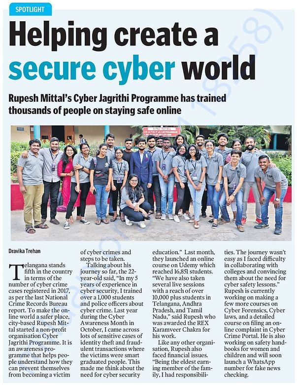 News Article in Telangana Today about Cyber Jagrithi