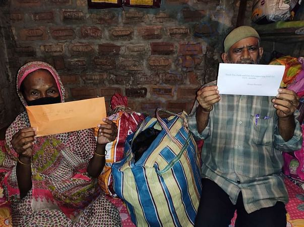 Delivered 4 months ration and room rent to 70 yr old couple in Assam