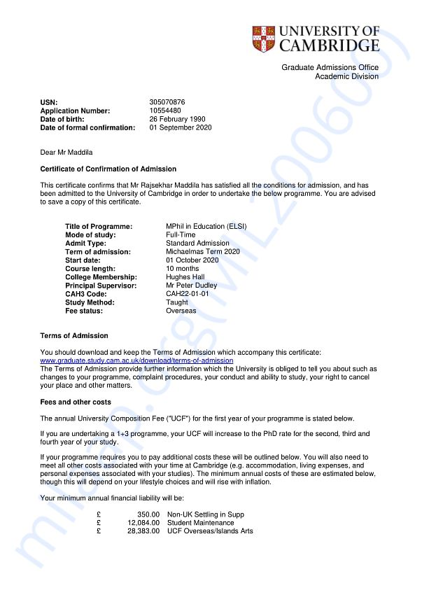 Confirmation of Admission Letter - University of Cambridge