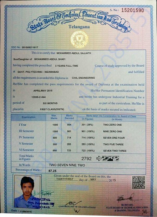 My diploma certificate