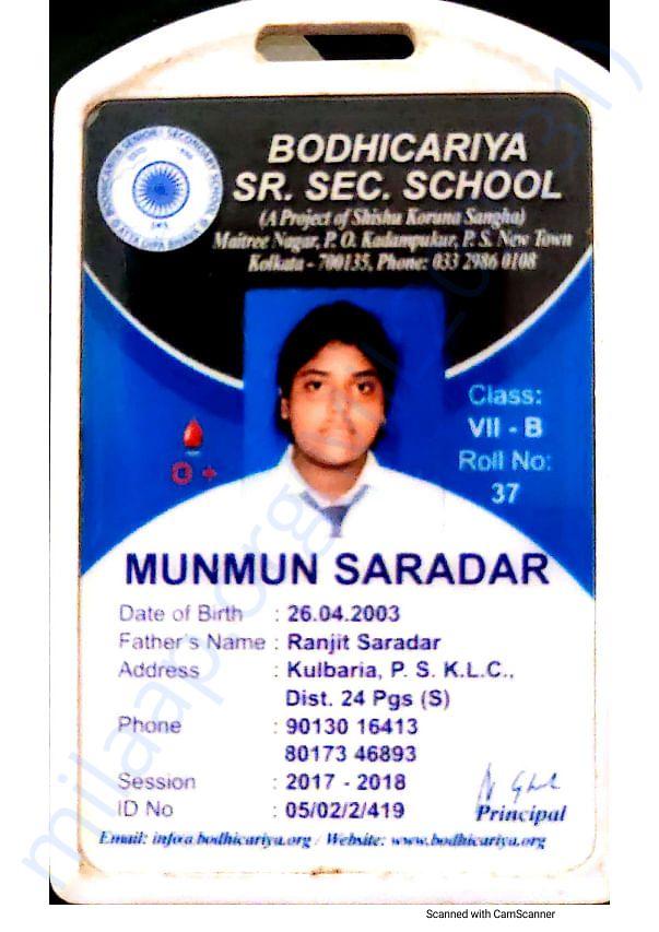 Underprivileged girl child School ID card