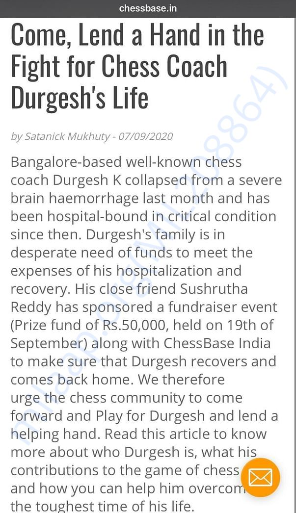 An article to raise funds for Bangalore based chess coach Durgesh K