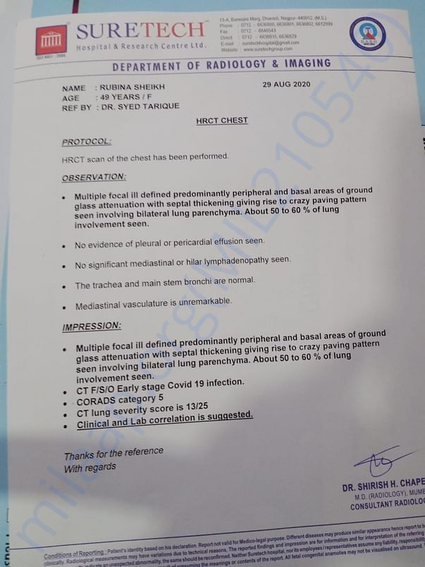 CT SCAN OF LUNGS AND MEDICALS INVOICE etc