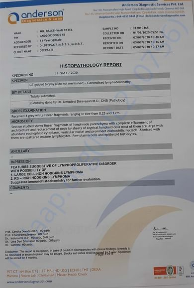 This is the diagnosis report of Mr. Rajeshwar Patel.