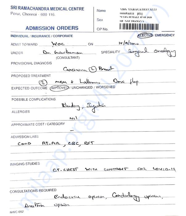 Attached is medical report explaining admission to hospital