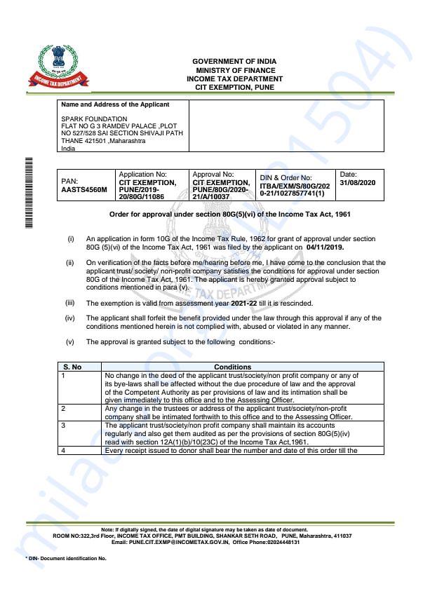 80G Tax Exemption Certificate