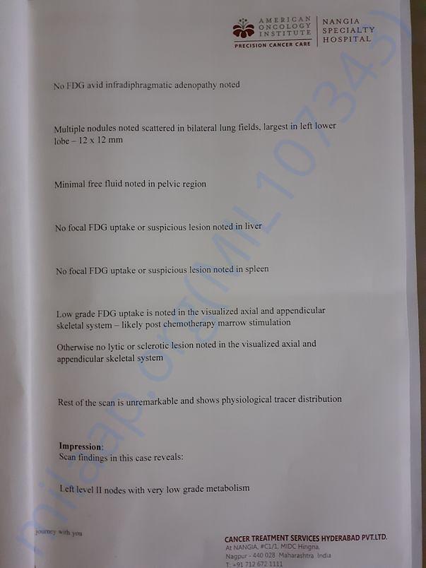 PET scan report