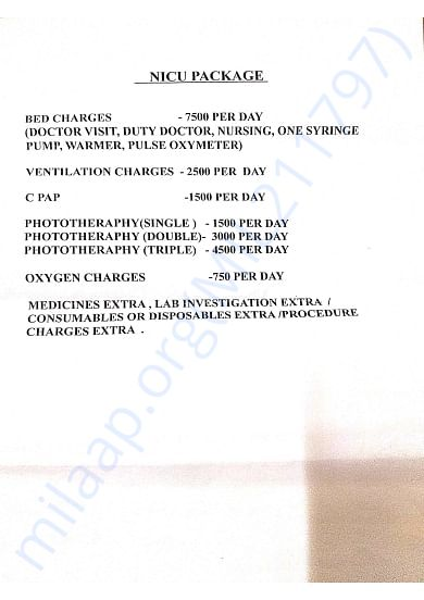 Daily charges,  will be upto 60-70 days based on the baby's treat