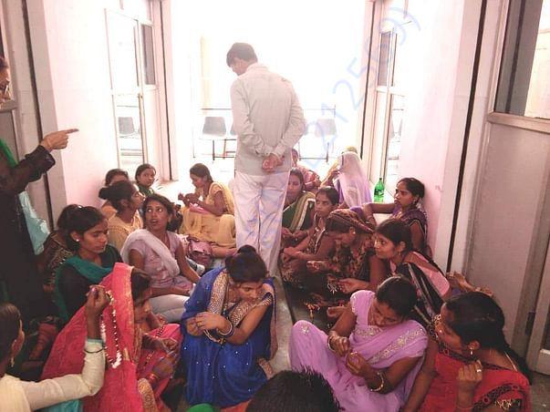 Group Women Doing Kadai And Silai Work.