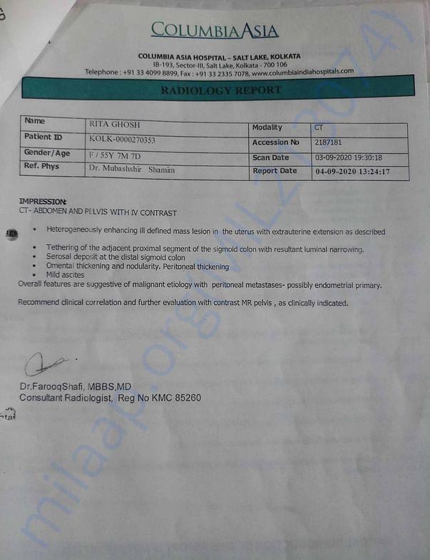 CT-SCAN REPORT of Lower ABDOMEN