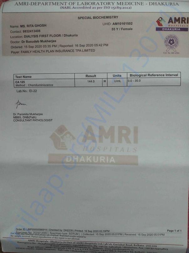 CA-125 Blood Test Report