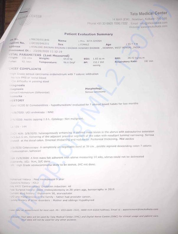 Tata Medical Prescription 1