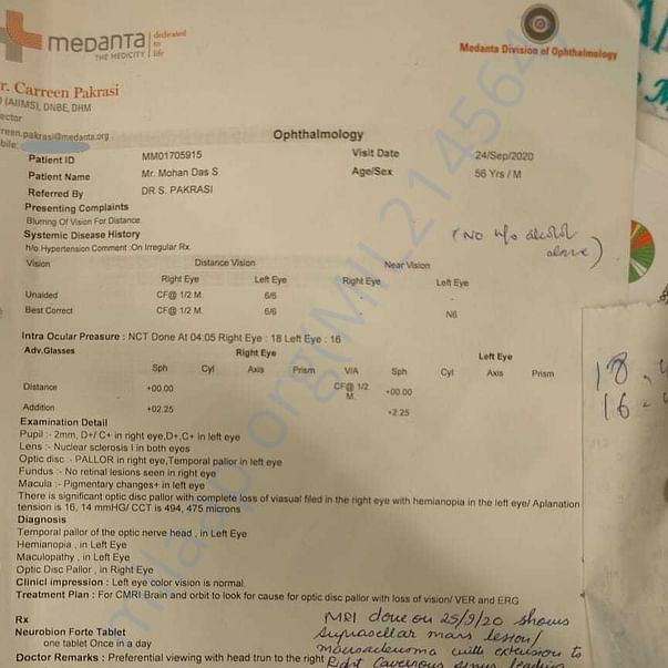 Medical Report (Ophthalmology)