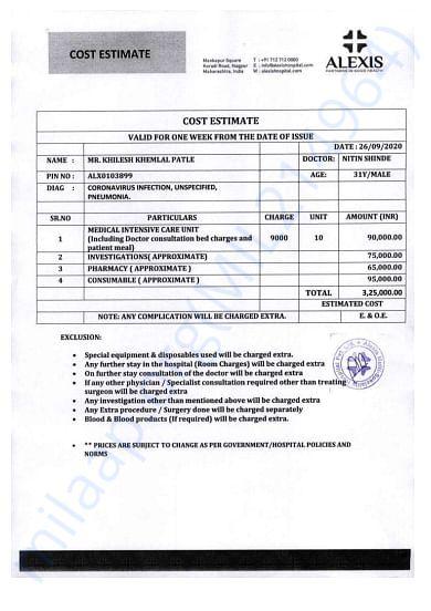 Cost Estimate for 10 Days Hospitalization