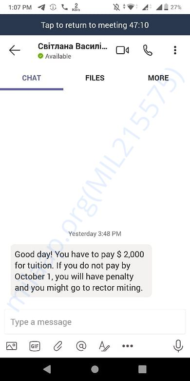 This is her resent message for the fees .