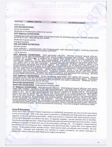 Discharge report from Caritas Hospital Kottayam (2)