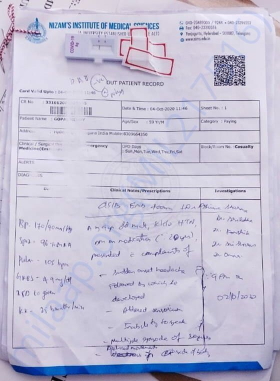 NIMS HOSPITAL REPORT ON 4TH OCTOBER 2020
