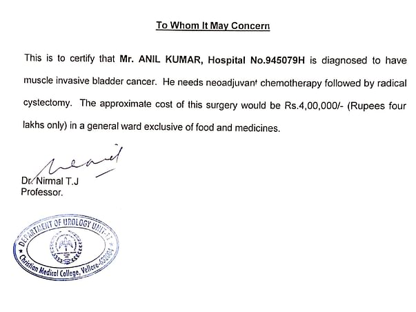 Anil Kumar Suffering bladder Cancer