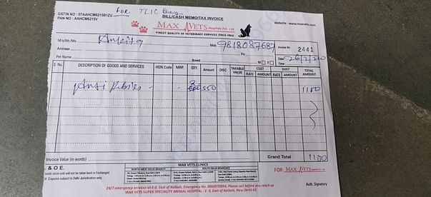 Receipt for anti rabies vaccine for puppies