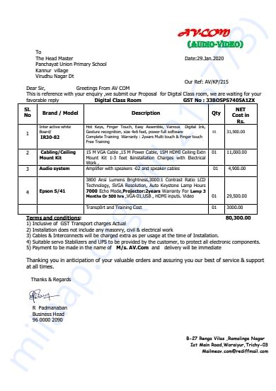 Smart Class Invoice at Kannur School for SWF Trust