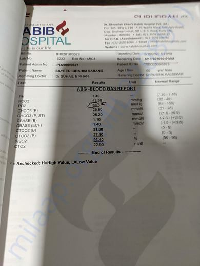 ABG - Blood gas report