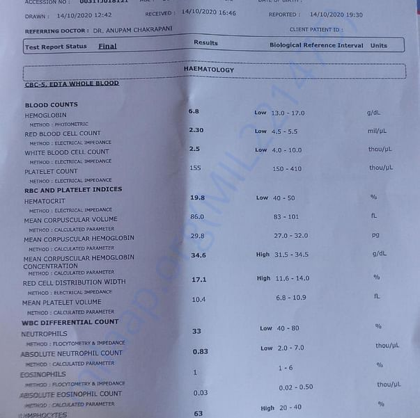 Page 1 of Report of Complete Blood Count after Chemotherapy - Cycle I
