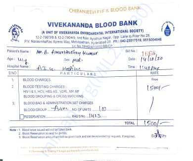 Receipts from blood banks