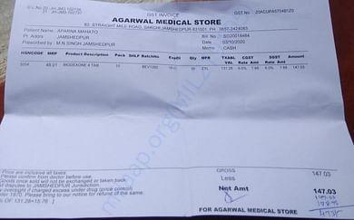 Medicine bill of Aparna Mahato