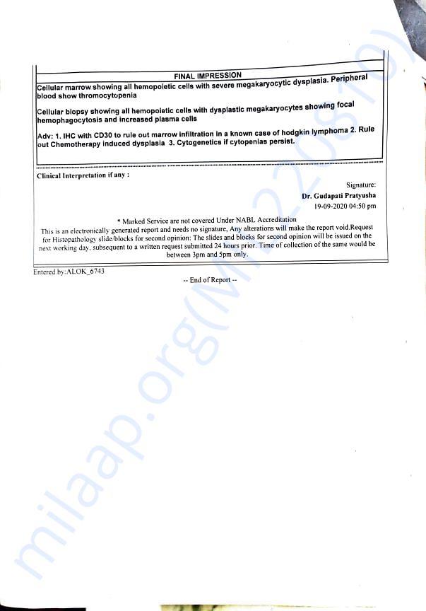 Page 2 of Bone Marrow Biopsy Report