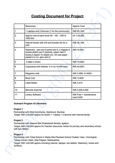 Costing Document for Liferarian's 3 Library Projects for Rural India