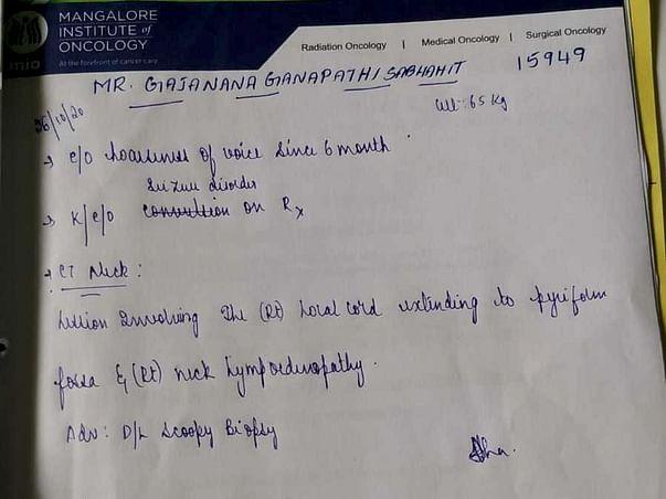 Support Gajanana Ganapathi Sabhahit Recover From Vocal Chord Cancer