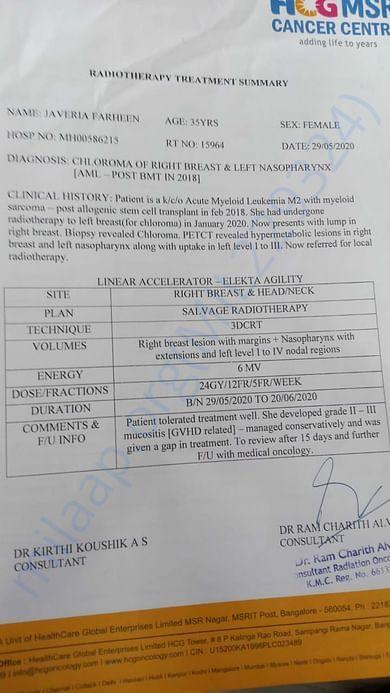 Radiotherapy Treatment Summary 2