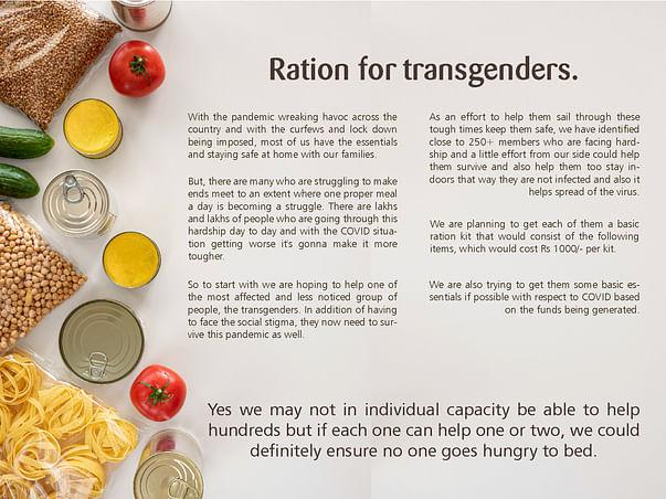 Help Transgender community receive a basic meal