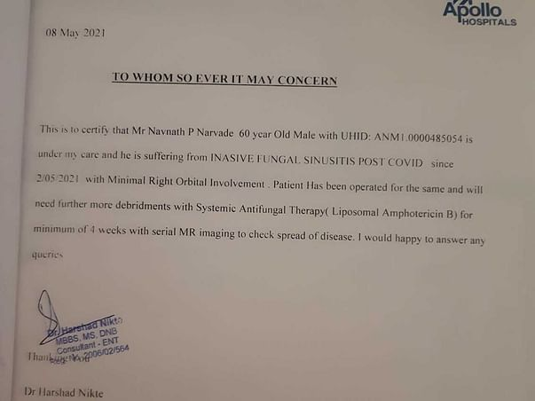 Help Navnath Narvade To Fight Mucormicosis