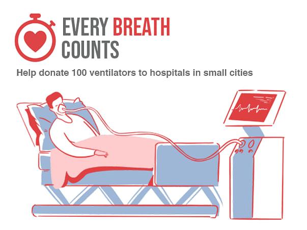 Donate 100 ventilators to hospitals in small cities