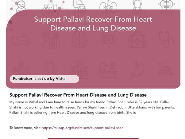 Please Support Pallavi to Recover From Heart Disease and Lung Disease